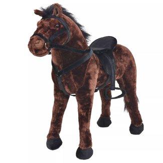 vidaXL Speelgoedpaard staand XXL pluche donkerbruin