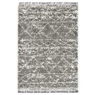 vidaXL Tapijt Berber shaggy hoogpolig 80x150 cm PP grijs en beige