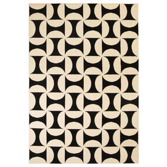 vidaXL Vloerkleed modern geometrisch ontwerp 180x280 cm beige/zwart
