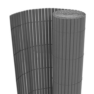 vidaXL Tuinafscheiding dubbelzijdig 195x300 cm PVC grijs
