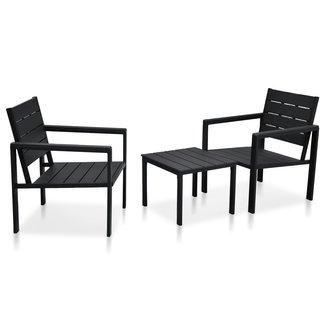 vidaXL 3-delige Bistroset hout-look HDPE zwart