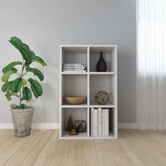 vidaXL Boekenkast/dressoir 50x25x80 cm spaanplaat hoogglans wit