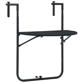 vidaXL Balkontafel hangend 60x64x83,5 cm rattan-look kunststof zwart