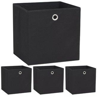 vidaXL Opbergdozen 32x32x32 cm ongeweven stof zwart 4 stuks
