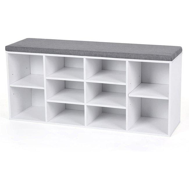 Schoenenbank wit met 10 vakken. 104 x 30 x 48 cm