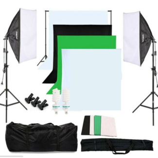 Fotostudio set met achtergrondsysteem, 4 achtergronddoeken, daglichtlampen, 2 softboxen