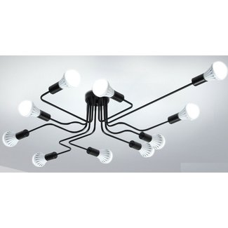 Industriële hanglamp, 10 koppen plafondlamp industrieel design