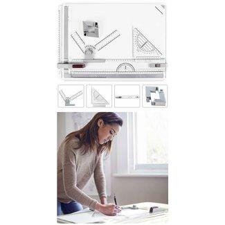 A3 tekenbord met liniaal en sneltekenkop, tekentafel