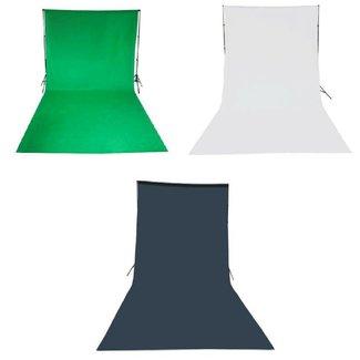 Set van 3 fotostudio achtergronddoeken van katoen 3 x 6 meter