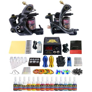 Tattoo kit , complete tattoo set met 2 guns, 14 inkt