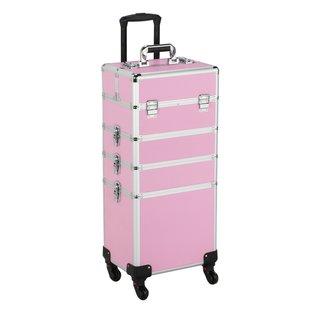4 in 1 kapperskoffer, cosmeticakoffer, nagelkoffer roze