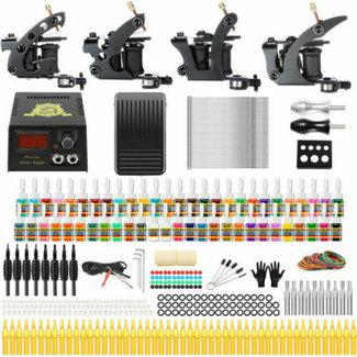 Complete tatoeage kit, 4 machines, 36 tattoo inkt, 50 naalden