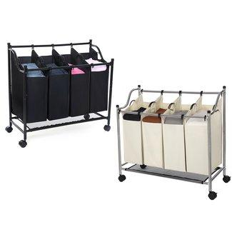 Waswagen, wassorteerder met 4 zakken zwart en beige