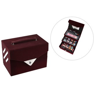 74 delig make-up koffer met spiegel in fluweel look