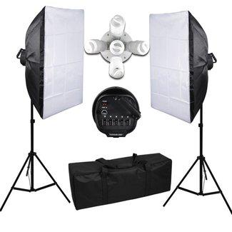 Fotostudio set met 10 lampen en 2 softboxen