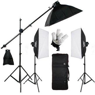 3 fotostudio softboxen met 15 lampen