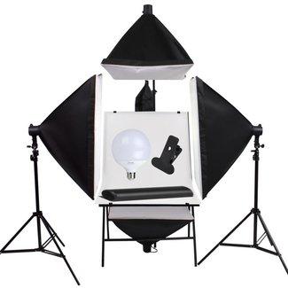 Fotostudio set met 4 softboxen en opnametafel