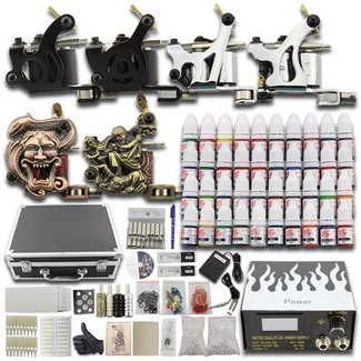 Complete Tattoo Set 6 Guns, 40 kleuren, Koffer