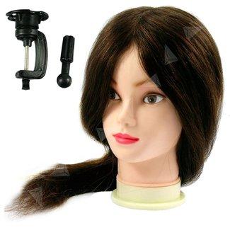 Oefenhoofd kappershoofd 90% echt haar bruin lang haar 60 cm