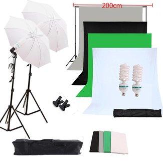 Fotostudio set met 4 kleuren achtergronden en lichtparaplus