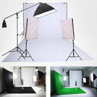 Fotostudio set  met achtergrondsysteem, softbox en galgstatief