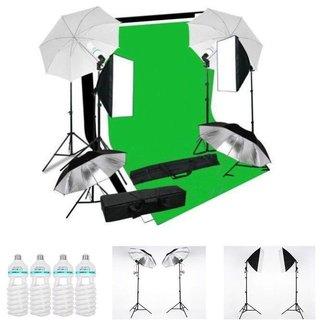 Fotostudio set met achtergrondsysteem, softboxen en lichtparaplus