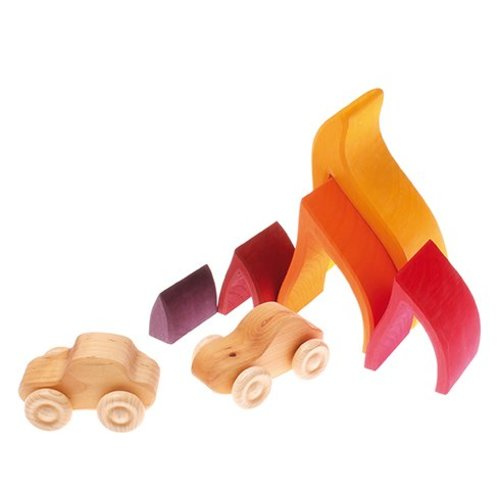 Grimms houten speelgoed Stapel- en bouwblokken vuur