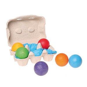 Grimms houten speelgoed Grimms Zes gekleurde houten ballen