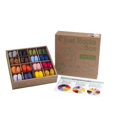 Crayon Rocks sojawaskrijtjes Just Rocks box - 64 krijtjes - 4 x 16 soja waskrijtjes