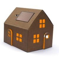 Litogami bouwpakket kraft huisje met zonnepaneel