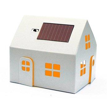Litogami zonne-energie bouwpakketten Bouwpakket solar huisje wit om te schilderen en in te kleuren