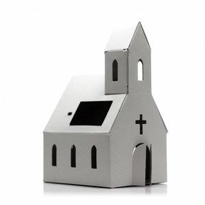 Litogami zonne-energie bouwpakketten Litogami bouwpakket kerk met zonnepaneel en lampje