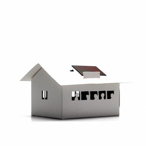 Litogami zonne-energie bouwpakketten Litogami bouwpakket school met zonnepaneel en lampje
