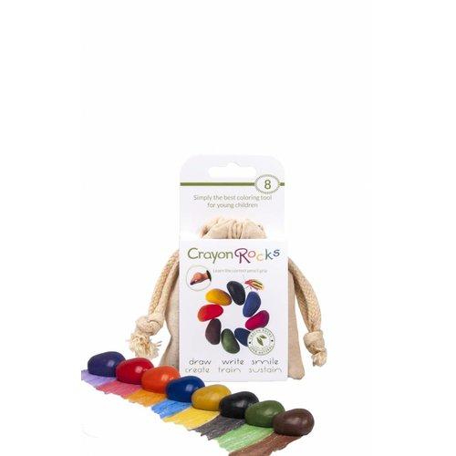 Crayon Rocks sojawaskrijtjes Crayonrocks - 8 sojawaskrijtjes in een ecru katoenen zakje