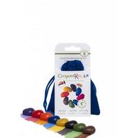 Crayon Rocks - 8 waskrijtjes in blauw fluwelen zakje