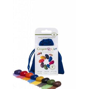 Crayon Rocks sojawaskrijtjes Acht kleurkrijtjes in primaire kleuren in een blauw fluwelen zakje