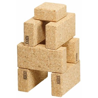 KORXX kurk blokken Cuboid Starter - 19 kurk bouwblokken met katoenen zak