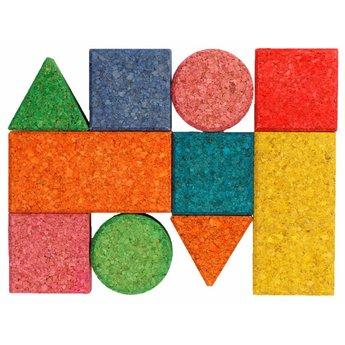 KORXX kurk blokken Tien (10) bouwblokken van gekleurd kurk speciaal voor baby's
