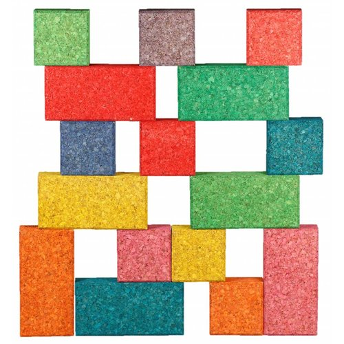 KORXX kurk blokken KORXX Cuboid C - 19 gekleurde kurk blokken en opbergzak