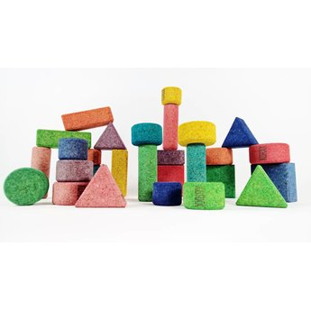KORXX kurk blokken Achtentwintig (28) gekleurde bouwblokken van kurk