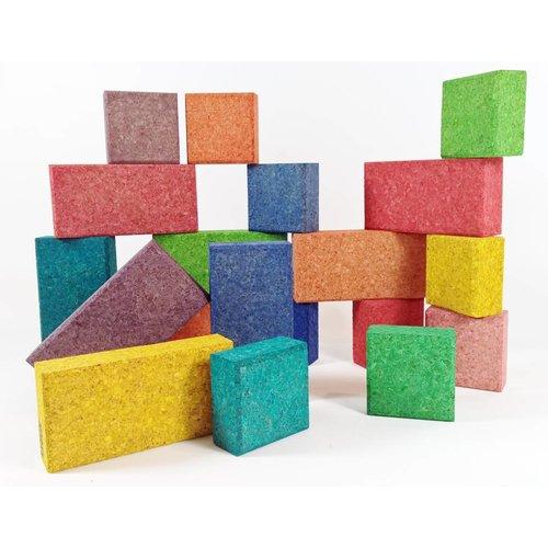 KORXX kurk blokken Cuboid Colour Mix educational - 38 gekleurde kurk blokken vierkanten