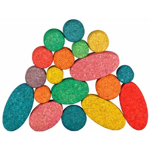 KORXX kurk blokken Kuller Colour Mix educational- 40 gekleurde kurk bouwvormen ovalen