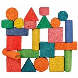 KORXX kurk blokken KORXX Form Edu - 56 gekleurde kurk vormen in viltbox