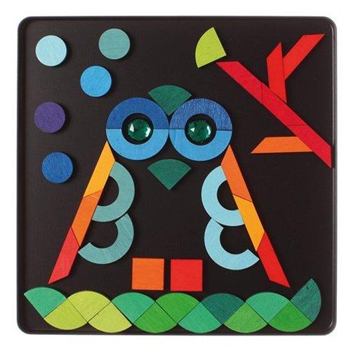 Grimms houten speelgoed Prachtige puzzel in verschillende vormen met 'diamanten'
