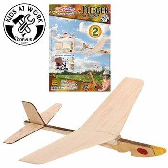 Kids at work kindergereedschap Vliegtuig katapult, uit natuurlijk hout, zelfbouwpakket twee