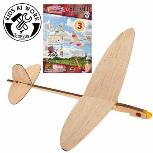 Kids at work kindergereedschap Vliegtuig katapult, uit natuurlijk hout, zelfbouwpakket drie