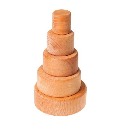 Grimms houten speelgoed Stapelbakjes van hout naturel