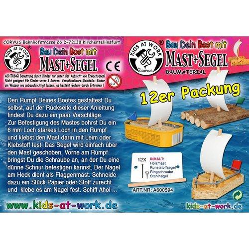 Kids at work kindergereedschap Bouw je eigen boten vloot - set 12 masten en zeilen