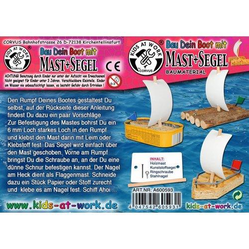 Kids at work kindergereedschap Bouw je eigen zeilboot of vlot - 1 mast en zeil