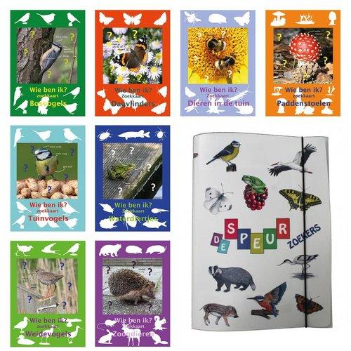 Tringa paintings natuurkaarten Achtdelige set inclusief map dierenzoekkaarten